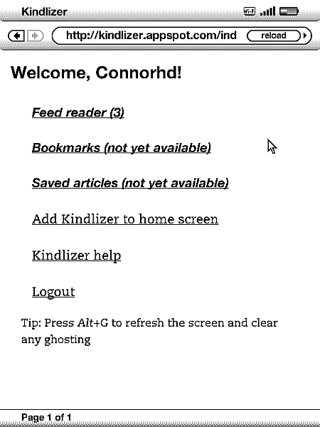 Kindlizer Adapting The Web For The Kindle Browser Connorhd